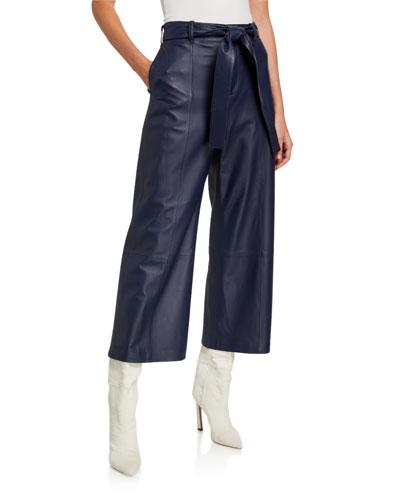 Wide-Leg Lambskin Leather Crop Pants