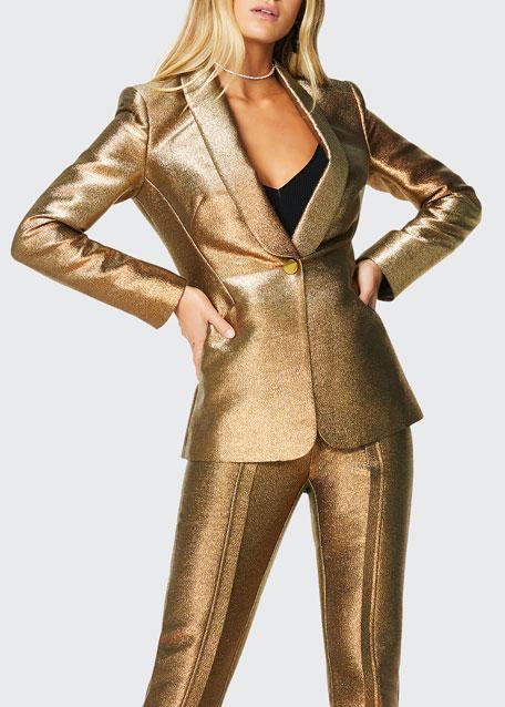 Dahlia Metallic Shawl-Collar Jacket
