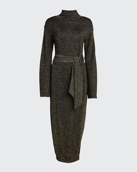 Canaan Metallic Mock-Neck Long Sweater Dress