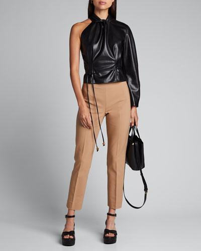 Elodia Vegan-Leather Asymmetric Blouse