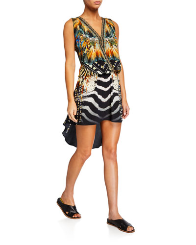 Crossover Sleeveless Dress with Long Back