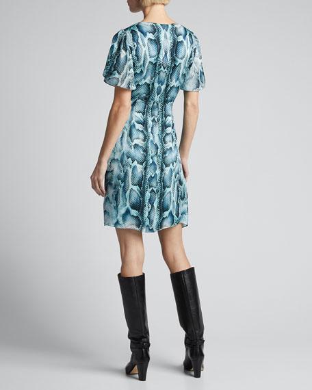 Dia Snake-Print Flutter-Sleeve Silk Dress