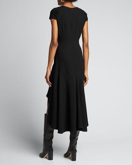 Phoenix Short-Sleeve Asymmetrical Midi Dress