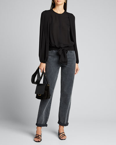 Francesca Pleated-Sleeve Silk Blouse