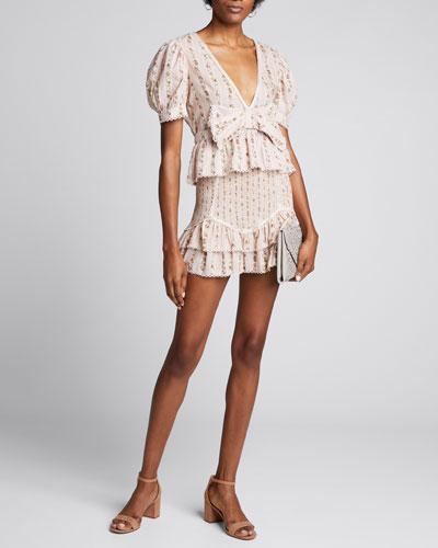 Raina Floral-Print Smocked Mini Skirt