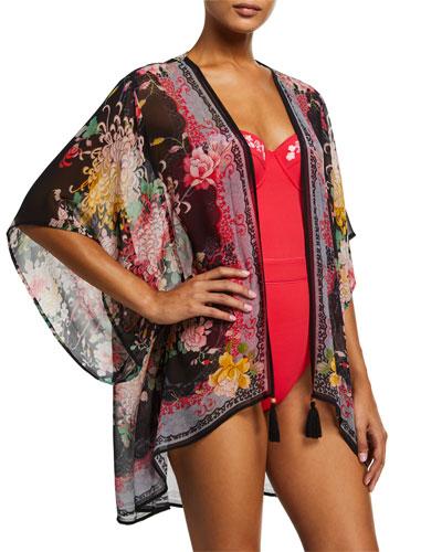 Mono Printed Short Kimono Coverup