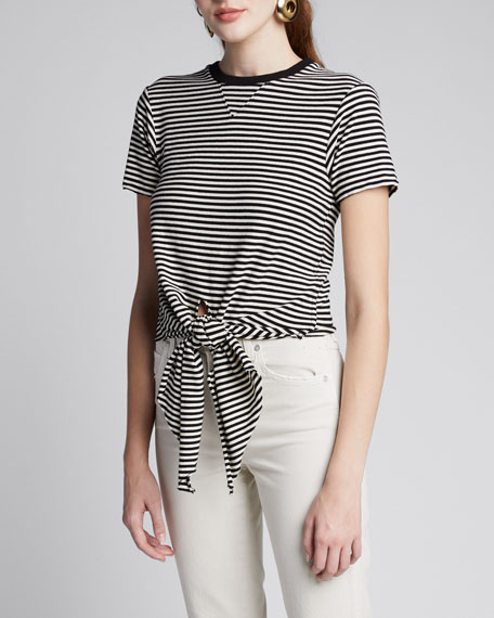 The Waist Striped Tie-Front Tee