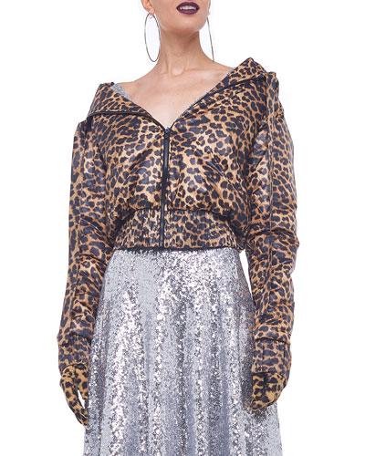 Leopard-Print Hooded Bomber Jacket