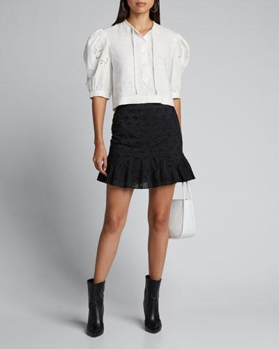 Elodie Eyelet Paneled Flounce Mini Skirt