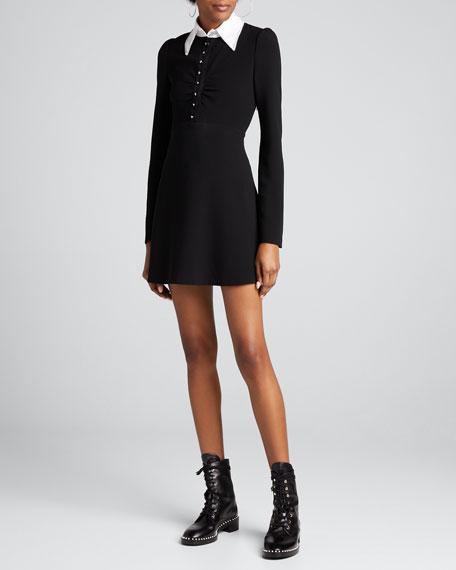 Aubrey Long-Sleeve Dress w/ Embellished Collar