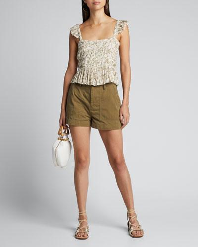 Alba Floral-Print Smocked Cotton Top