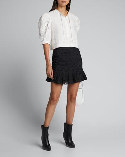 Alena Lace-Inset Button-Front Shirt