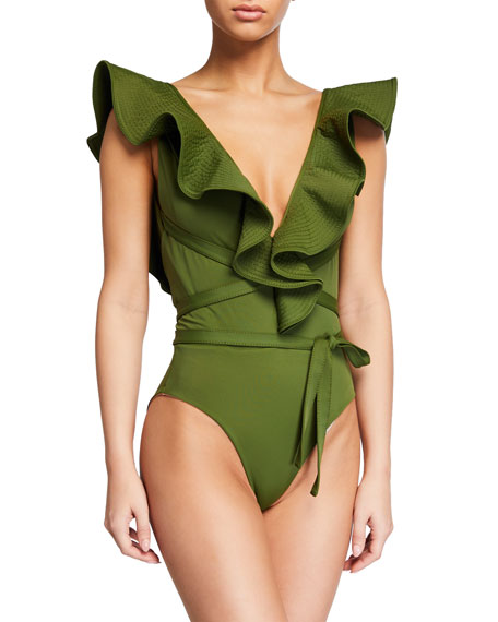 Image 1 of 1: On The Shore Belted Ruffle One-Piece Swimsuit