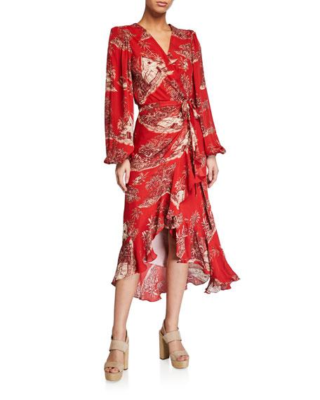 Cuando El Rio Suena Printed Wrap Dress