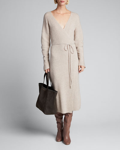 Ribbed Wool/Cashmere Midi Wrap Dress