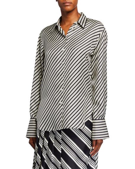Doy Diagonal Striped Silk Button-Down Shirt