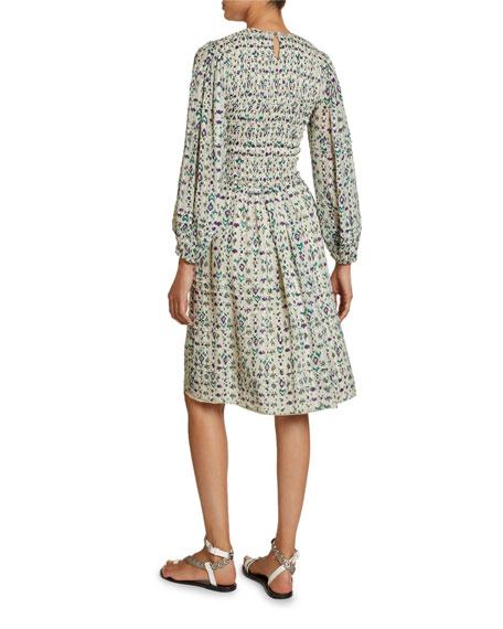 Eulie Printed Blouson-Sleeve Dress