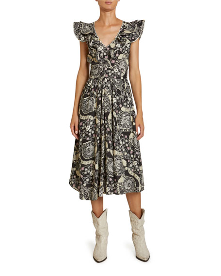Image 1 of 1: Coraline Abstract Paisley Print Crepe Flutter-Sleeve Dress