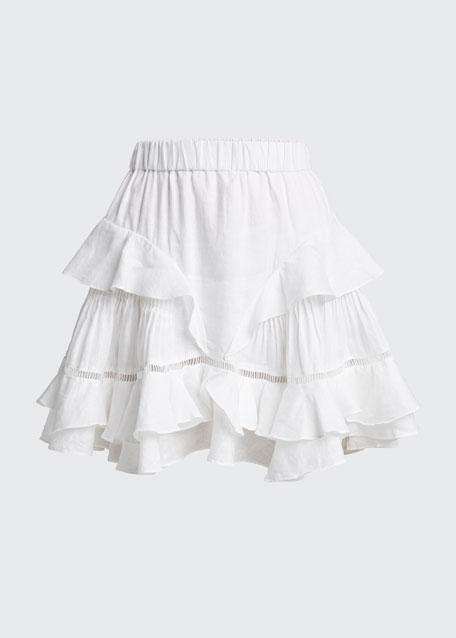 Alikaya Linen Flounce Skirt