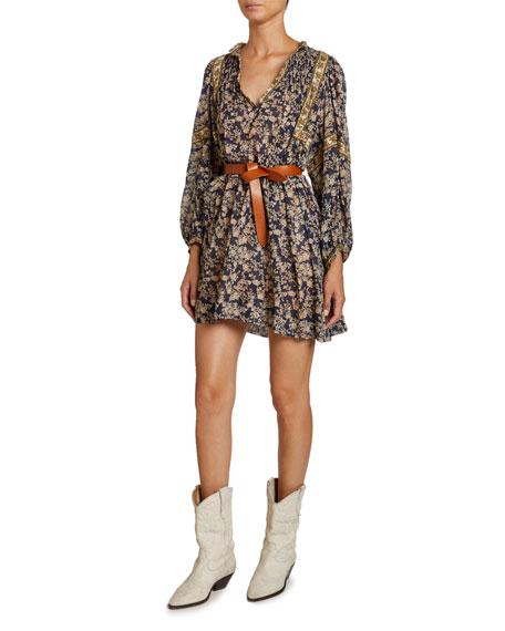 Virginie Cotton V-Neck Peasant Dress