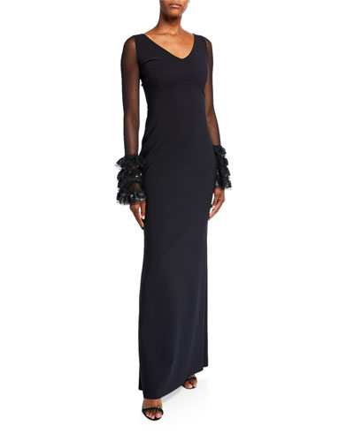 V-Neck Long-Sleeve Gown with 3D Ruffle Cuffs