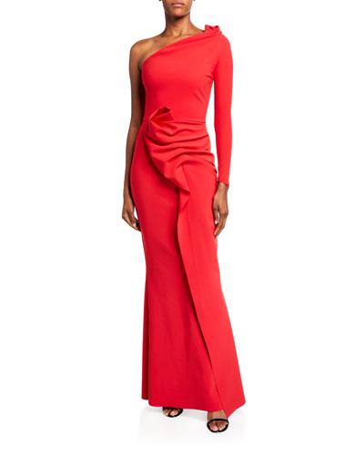 Asymmetric One-Sleeve Shirred Skirt Gown