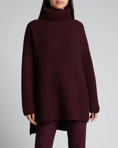 Oversized High-Low Wool Turtleneck Sweater