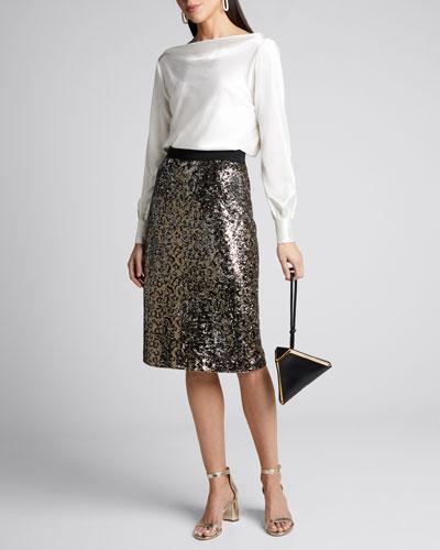 Leopard Sequins Long Pencil Skirt
