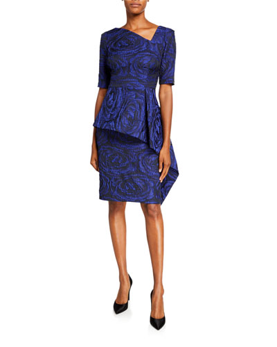 Asymmetric Short-Sleeve Jacquard Peplum Sheath Dress