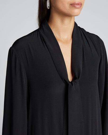 Heavy Crepe De Chine Tie-Neck Tiered Dress