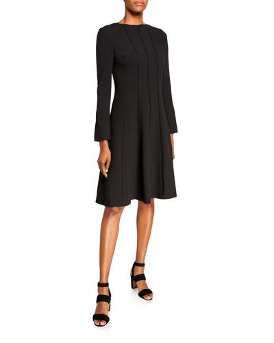 Jewel Neck Long-Sleeve Stitched Crepe Dress