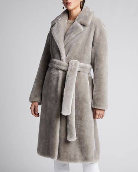 Luxe Faux-Fur Oversized Trench Coat