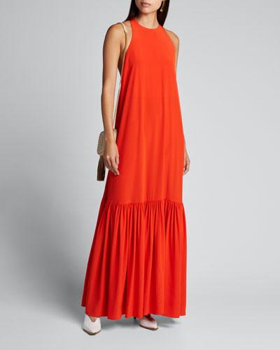 Heavy Crepe De Chine Long Halter Dress