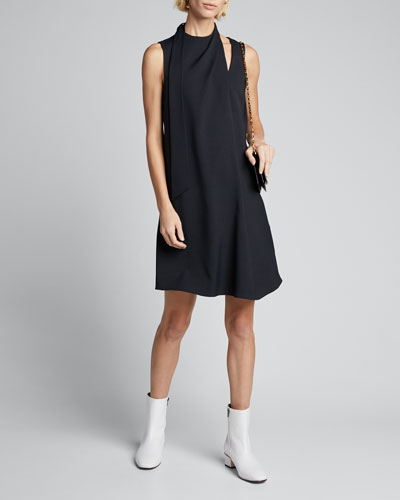 Chalky Drape Pleat-Neck Shift Dress