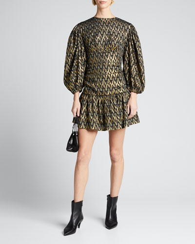 Donna Geo-Print Metallic Blouson-Sleeve Dress