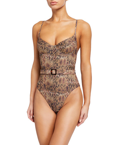 Danielle Belted Python-Print One-Piece Swimsuit