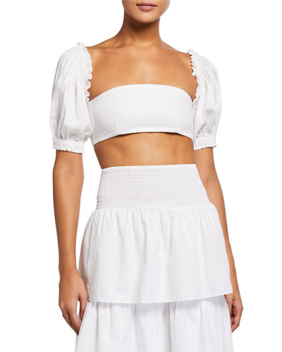 Coco Puff-Sleeve Bandeau Coverup Top