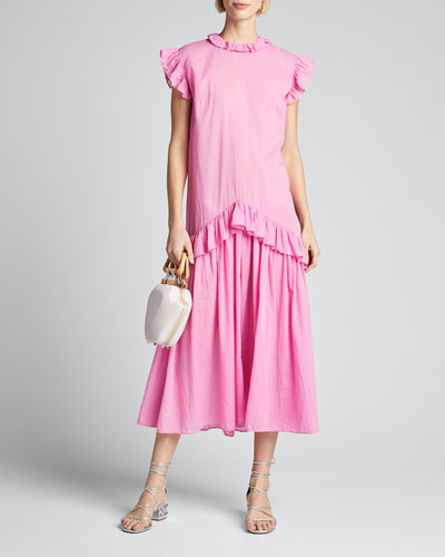 Mary Dropped-Waist Sleeveless Ruffle Dress
