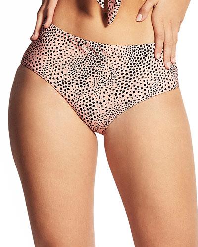 Mid-Rise Printed Bikini Swim Bottom