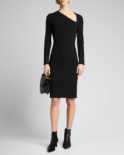 Raglan Long-Sleeve Ribbed Dress