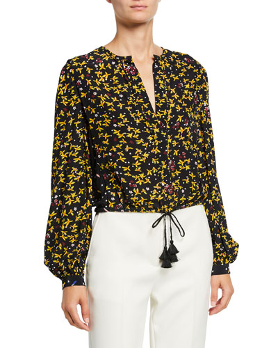 Aster Cropped Floral-Print Blouse