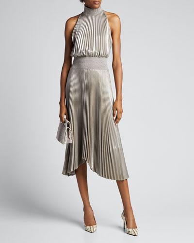 Renzo Halter-Neck Plisse Dress