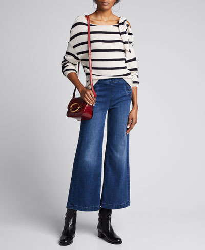 Elani Cold-Shoulder Stripe Sweater