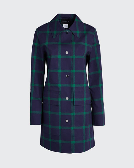 Mckinleigh Crosshatch Cotton Plaid Button-Front Coat