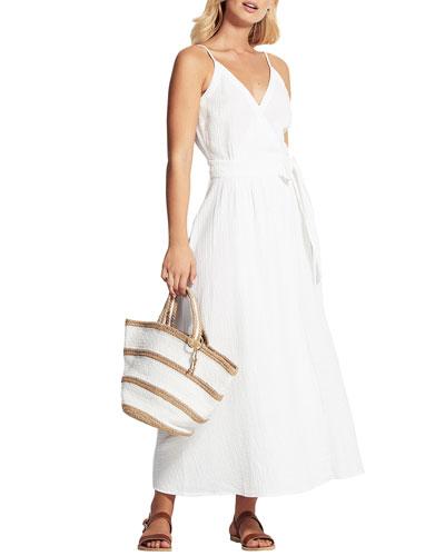Sleeveless Cotton Coverup Wrap Dress