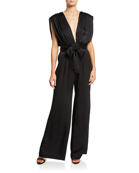 Image 1 of 1: Astrid Plunging Wide-Leg Jumpsuit