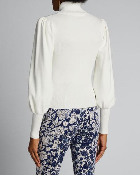 Karla Blouson-Sleeve Turtleneck Sweater