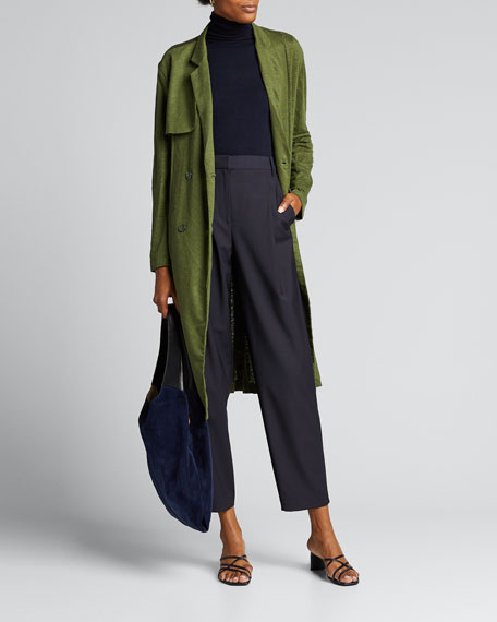 Tropical Wool Slouchy Sculpted Pleat Pants