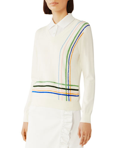 Cotton/Cashmere Multi Stripe Sweater