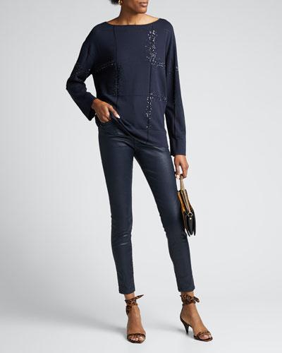 Bateau-Neck Embellished Matte Crepe Sweater